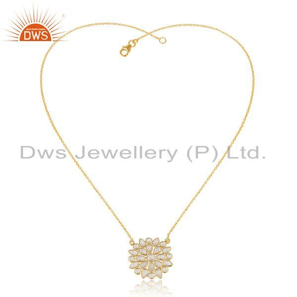 Round Flower Design Gold Plated 925 Silver CZ Chain Pendants