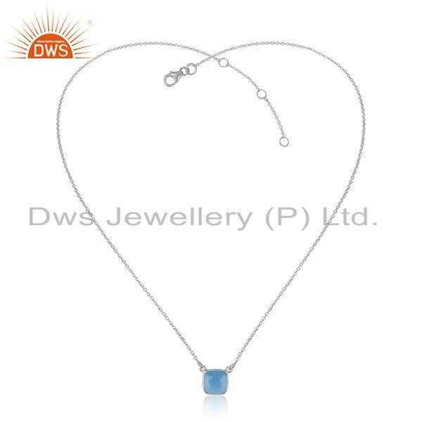 Handmade Dainty Necklace in Silver 925 Adorn with Blue Chalcedony