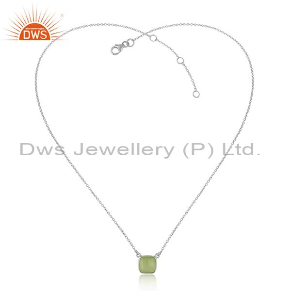 Handmade Dainty Necklace in Silver 925 with Prehnite Chalcedony