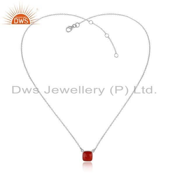 Handmade Dainty Necklace in Silver 925 Adorn Adorn with Red Onyx