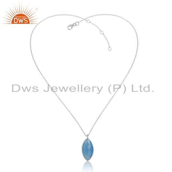 Blue chalcedony gemstone sterling fine silver chain pendants