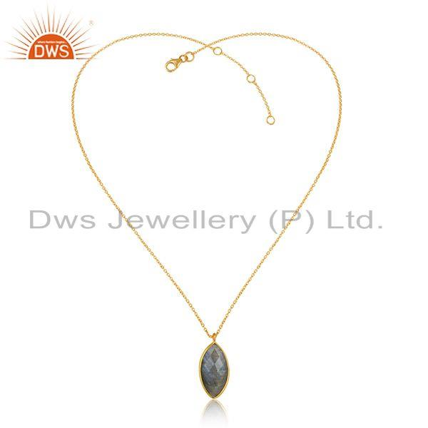 Labradorite gemstone 18k gold plated womens silver chain pendants