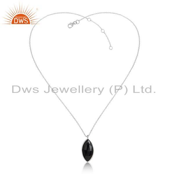 Black Onyx Gemstone Designer Fine Sterling Silver Womens Pendants