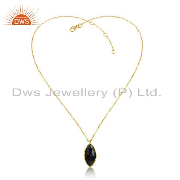 Black Onyx Gemstone Womens Gold Plated 925 Silver Chain Pendants