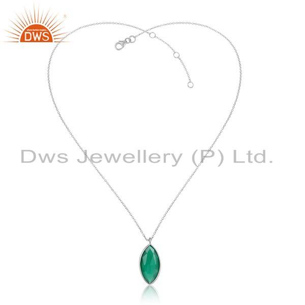 Green onyx gemstone handmade 925 sterling silver chain pendants