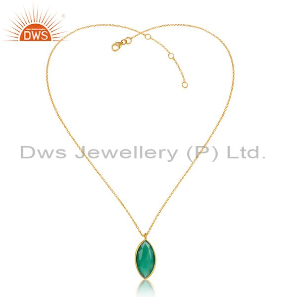 Green onyx gemstone 18k gold plated designer silver chain pendant