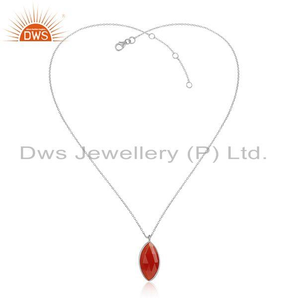 Red onyx gemstone designer fine sterling silver chain pendants