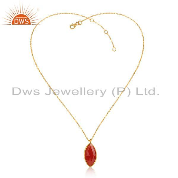 Girls gold plated silver natural red onyx gemstone chain pendants