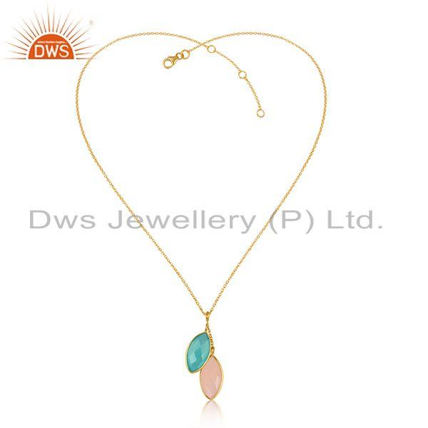 Aqua Rose Chalcedony Gemstone Womens Gold Plated Silver Pendants