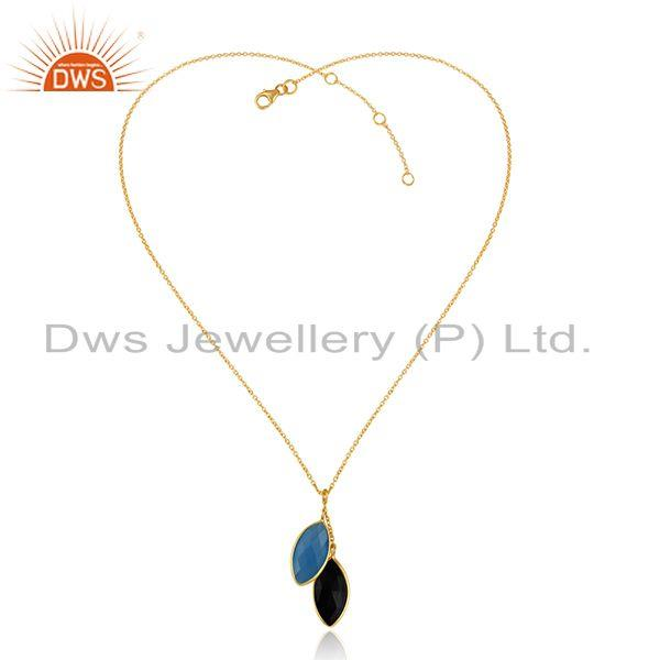 Blue Chalcedony Black Onyx Gemstone Gold Plated Silver Pendants