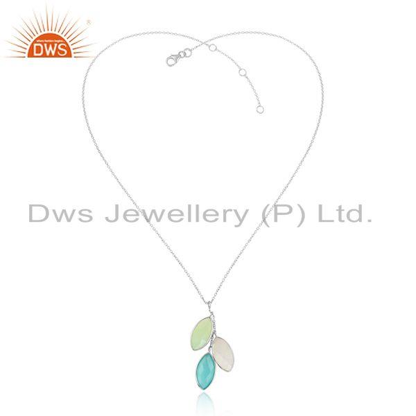 Crystal Chalcedony Gemstone Designer Fine Silver Chain Pendants