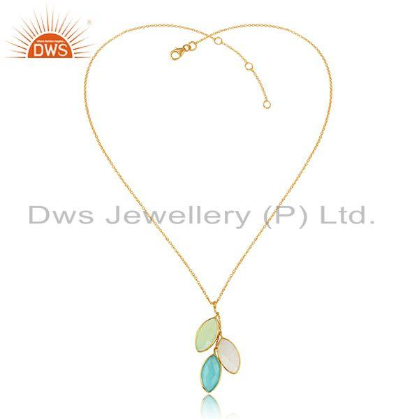 Multi Gemstone Designer Gold Plated 925 Silver Chain Pendants