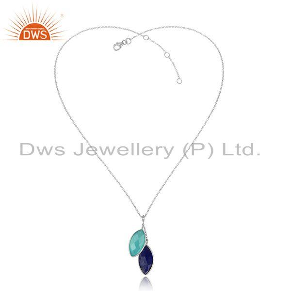 Lapis Aqua Chalcedony Gemstone Indian Fine Silver Chain Pendants