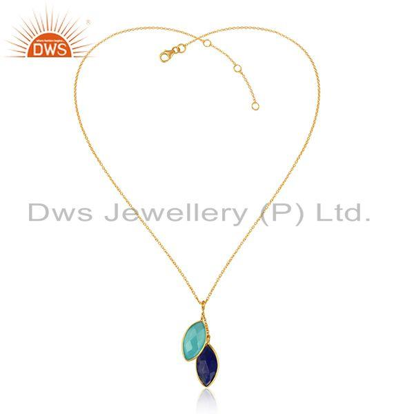 Chalcedony Lapis Lazuli Gemstone Gold Plated Silver Chain Pendant