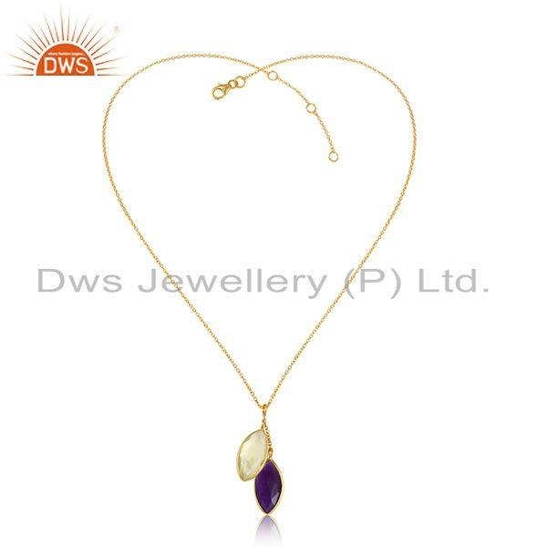 Lemon Topaz Aventurine Gemstone Designer Gold Plated Pendants