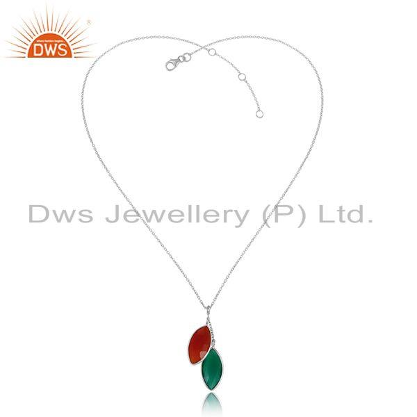 Green red onyx gemstone women fine sterling silver chain pendant