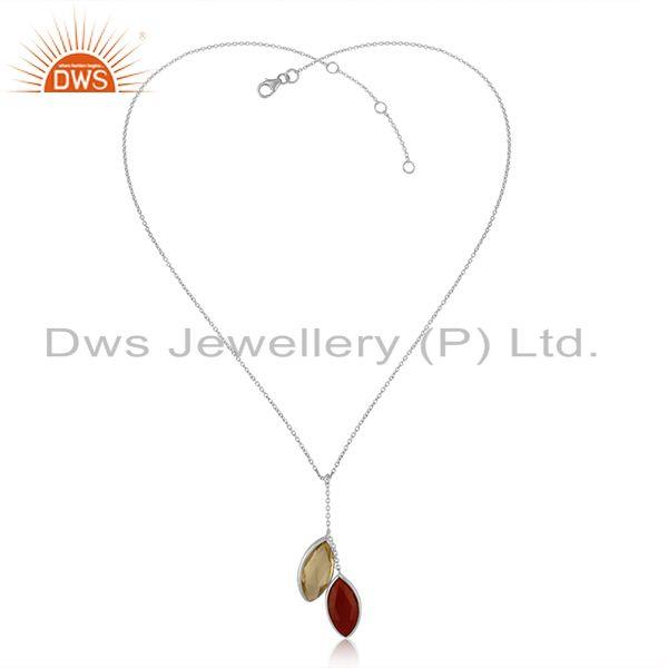 Handmade Necklace in Silver with Glossy Lemon Topaz And Red Onyx