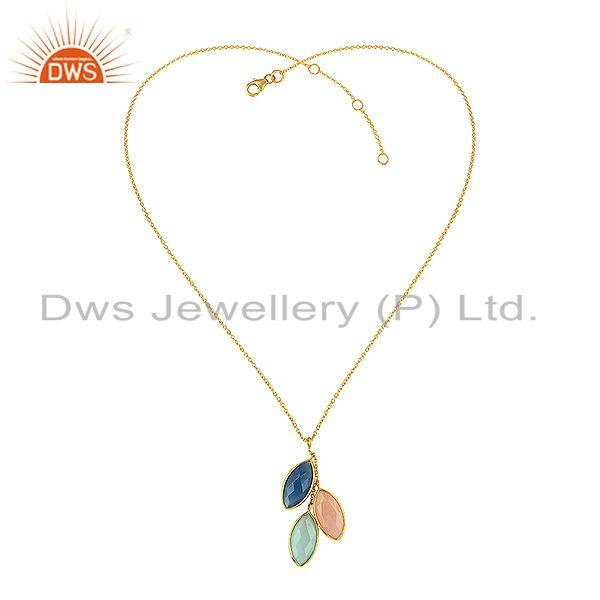 Designer Gold Plated 925 Silver Natural Three Gemstone Chain Pendant