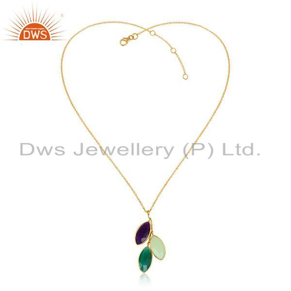 Natural Gemstone Designer Gold Over Silver Womens Chain Pendants