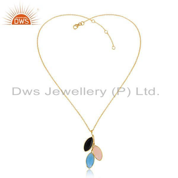 Designer gold plated silver blue chalcedony onyx pendants jewelry