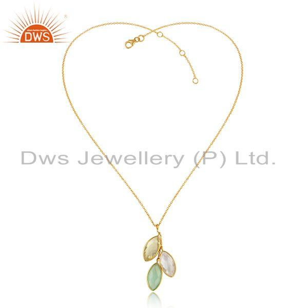 Chalcedony crystal quartz gold plated silver chain pendants