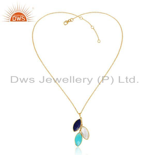 Multi Gemstone New Arrival Gold Plated 925 Silver Chain Pendants