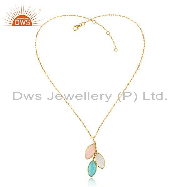 Multi gemstone 18k gold plated silver designer chain pendants