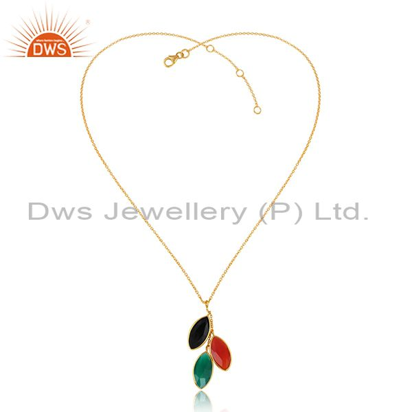 Natural onyx gemstone designer gold plated silver chain pendants