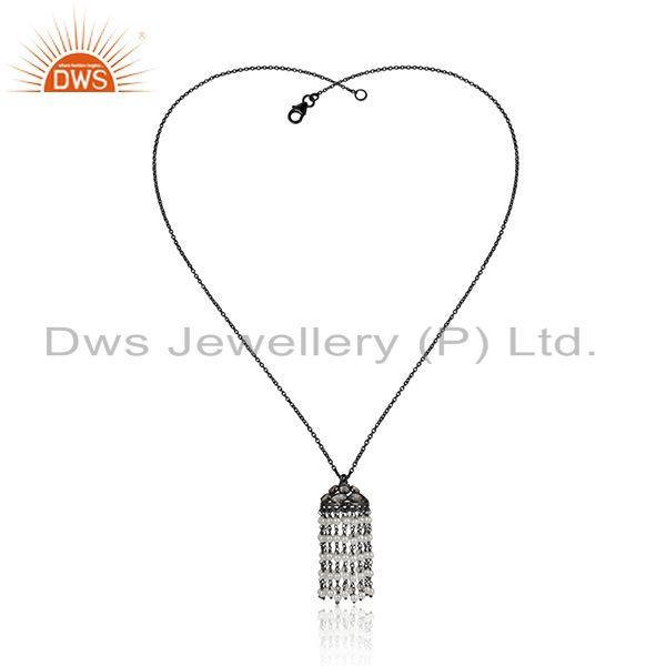 Cz pearl gemstone jhumka design oxidized silver chain necklace