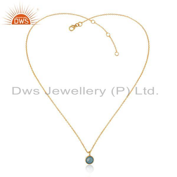 Dainty Necklace in Yellow Gold on Silver with Blue Chalcedony