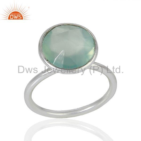 Wholesale Sterling Fine Silver Aqua Chalcedony Gemstone Ring Jewelry