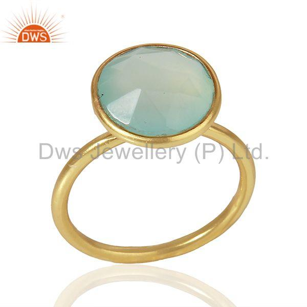 Aqua Chalcedony Gold Plated 925 Sterling Silver Girls Ring Manufacture