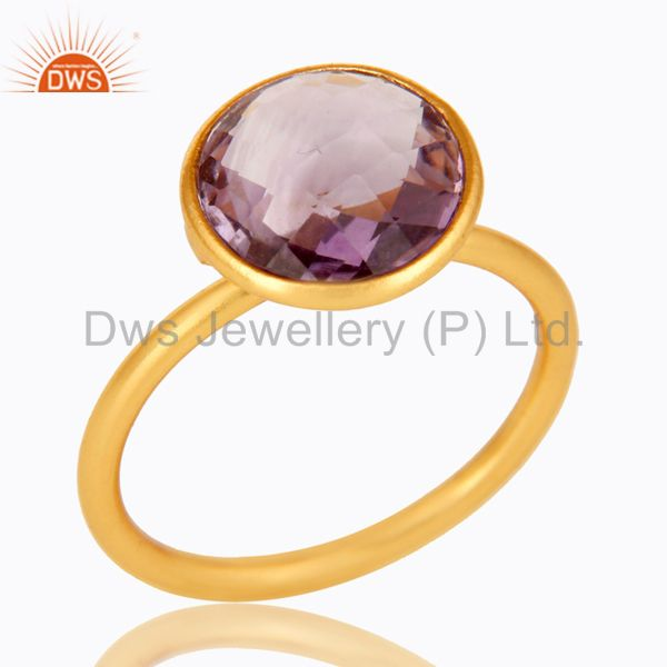 14K Yellow Gold Plated 925 Sterling Silver Round Cut Amethyst Stacking Ring