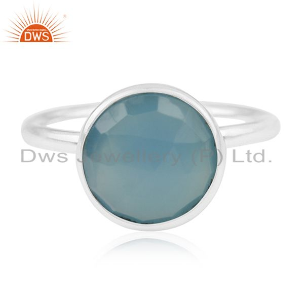Blue Chalcedony Gemstone 925 Sterling Silver Rings Suppliers