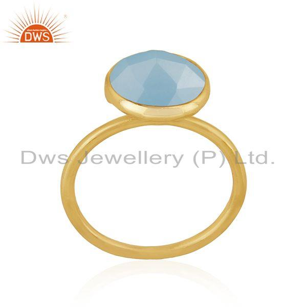 Blue Chalcedony Gemstone 925 Silver Gold Plated Ring Manufacturer of Rings