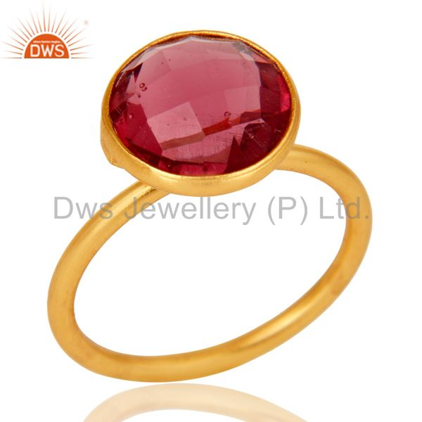 Pink Corundum Stackable 18K Gold Plated 925 Sterling Silver Ring Gift Jewelry
