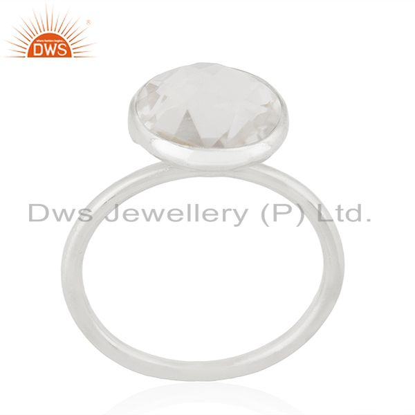 Crystal Quartz 925 Sterling Silver Ring Manufacturer of Customized Jewellery