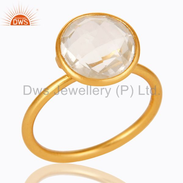 22K Yellow Gold Plated Sterling Silver Crystal Quartz Stacking Ring