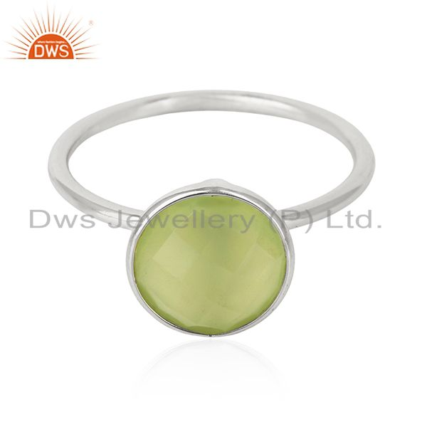 Prehnite Chalcedony Gemstone 925 Sterling Silver Stackable Ring Manufacturer