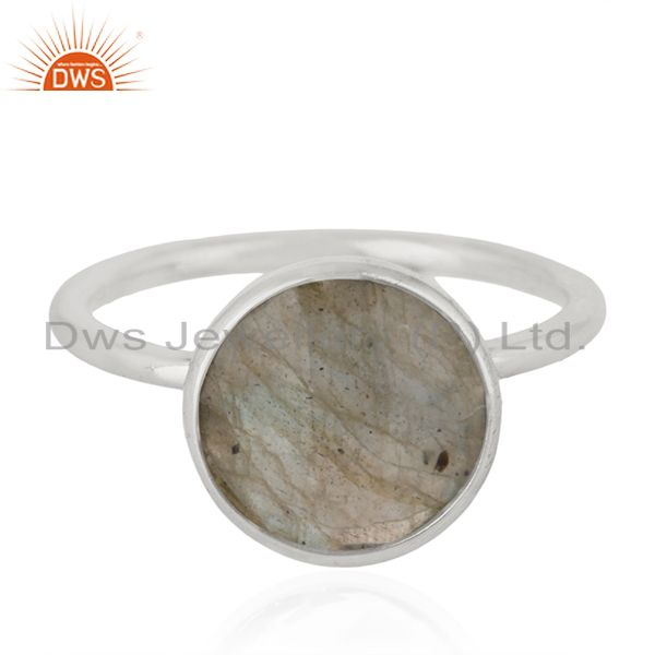 925 Sterling Silver Labradorite Gemstone Stackable Ring Manufacturer India