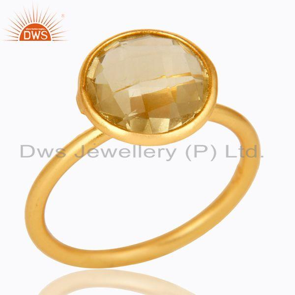 18K Yellow Gold Plated Sterling Silver Lemon Topaz Gemstone Stacking Ring