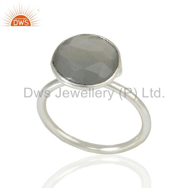Moonstone 925 Silver Bezel Set Gemstone Rings wholesale Jewelry