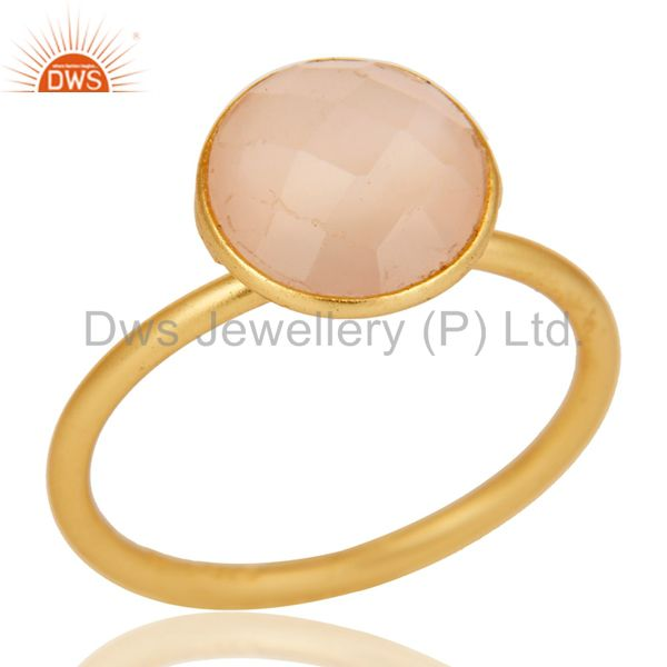 22K Yellow Gold Plated Sterling Silver Chalcedony Gemstone Stacking Ring