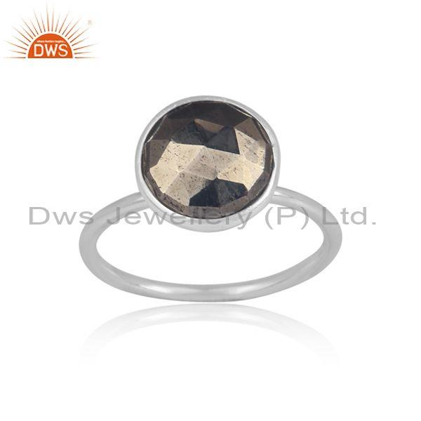 Round cut pyrite set fine 925 sterling silver statement ring
