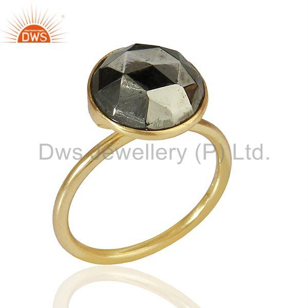 Pyrite Gemstone Gold Plated Designer Girls Rings Jewelry Manufacturer