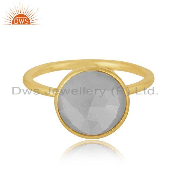 Rainbow Moonstone Gemstone Gold Plated Silver Ring For Womens