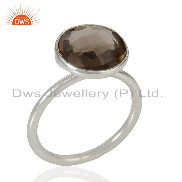 925 Sterling Fine Silver Smoky Quartz Gemstone Rings Jewelry Supplier