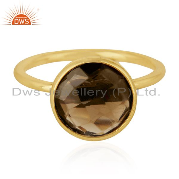 Smoky Quartz 925 Sterling Silver Gold Plated Ring Manufacturer Wedding Jewelry