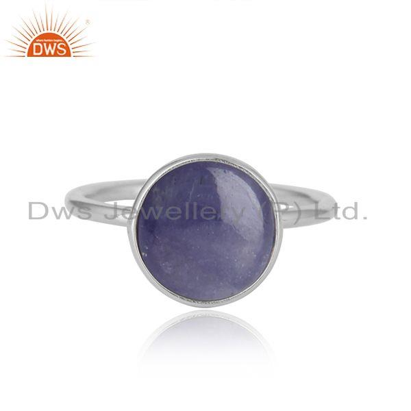 Tanzanite gemstone sterling silver white rhodium plated rings