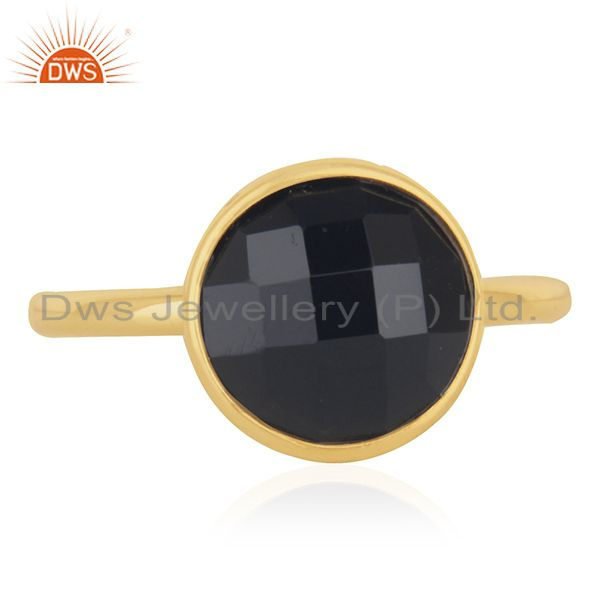 Black Onyx Stone Gold Plated 925 Silver Ring Jewelry Manufacturer for Retailers